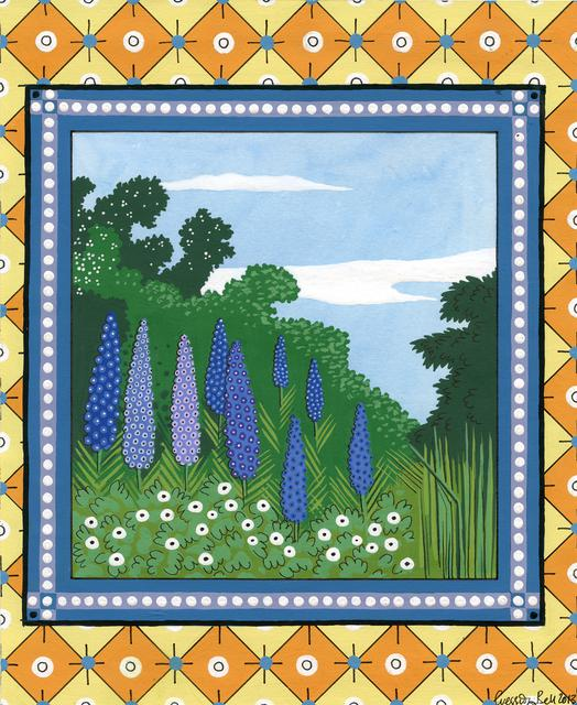 Purple and blue flowers in green grass and shrubbery with blue partly cloudy sky in square on orange and yellow patterned background