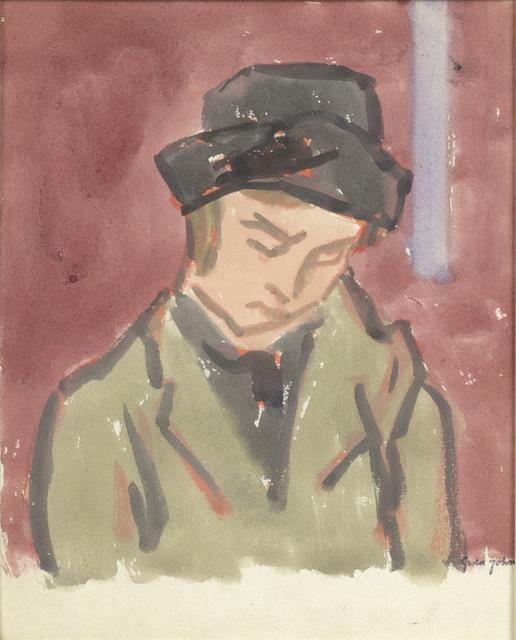 Gouache painting of a woman on in an olive green coat and black hat looking down