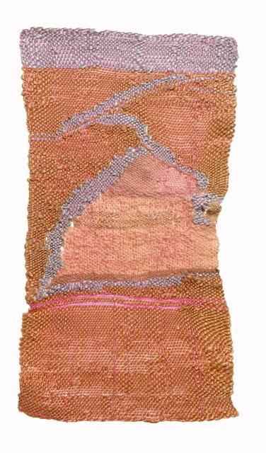 Terra cotta rectangle with lilac band at top, moving line and pink shapes within weaving
