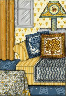 Yellow striped couch with blue and orange pillows on blue patterned carpet in front of orange patterend wallpaper with decorative lamp, table, and curtained window