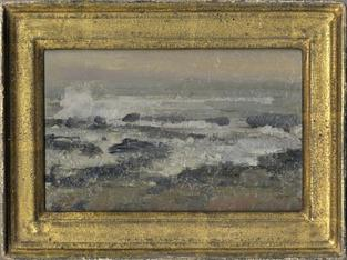 Seascape with white weaves breaking on rocks in gold frame