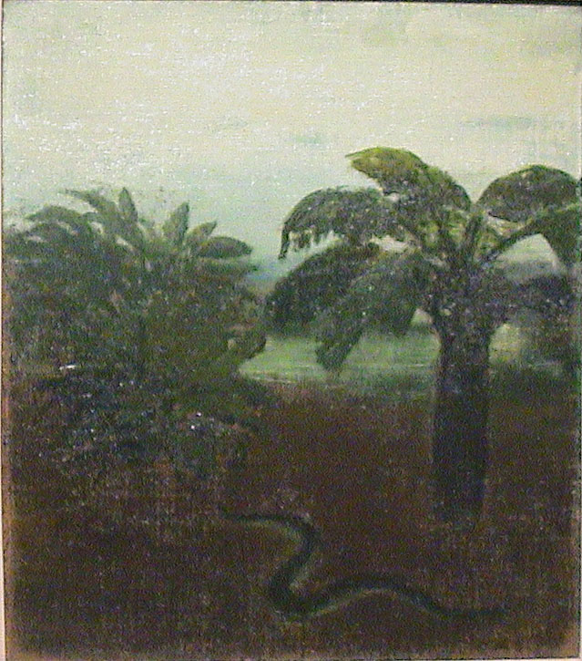 Tropical Landscape with Palm and Snake
