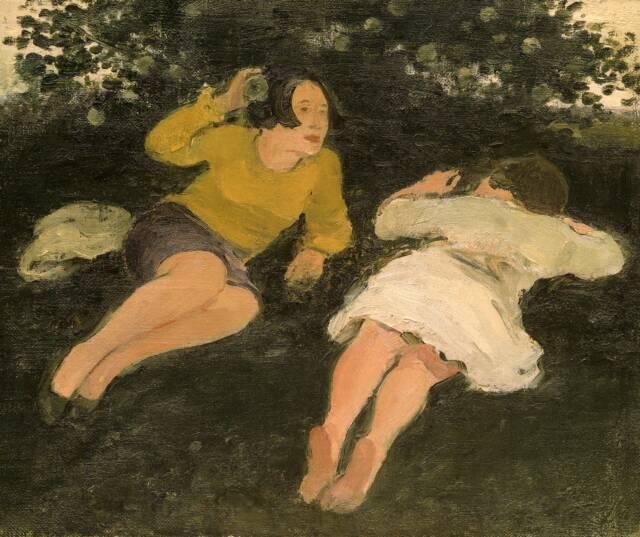 Two Reclining Women in Landscape