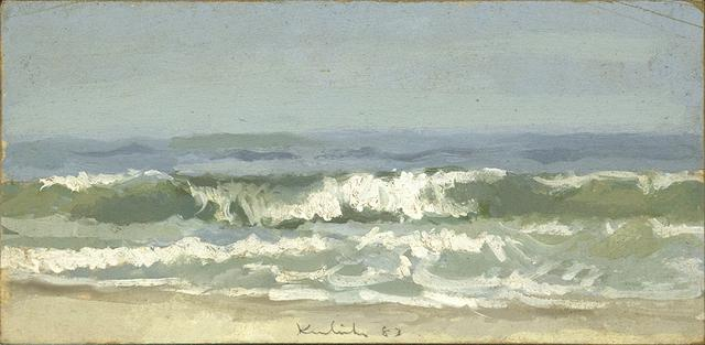 Painting of greenish waves breaking on sandy beach