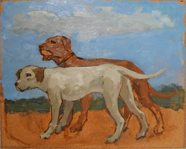 Albert York, Brown Dog and Grey Dog in Landscape