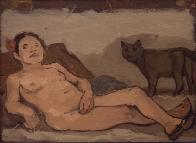 Albert York, Reclining Female Nude with Cat