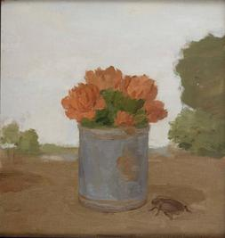 Albert York, Carnations in a Blue Can with a Beetle in a Landscape