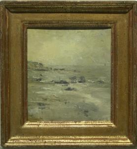 Seascape with rocky shoreline in gold frame